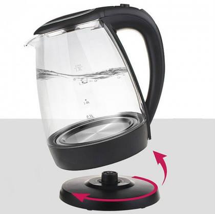 Электрочайник Стеклянный с LED Подсветкой Чёрный Чайник Электрический, фото 2