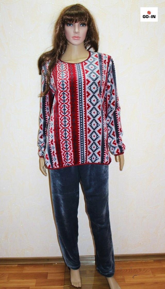 Пижама махровая женская штаны и кофта теплая бордовая орнамент на зиму 40-58 р.