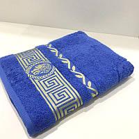 Махровое банное полотенце 70х140 см синий 430 гр/м2
