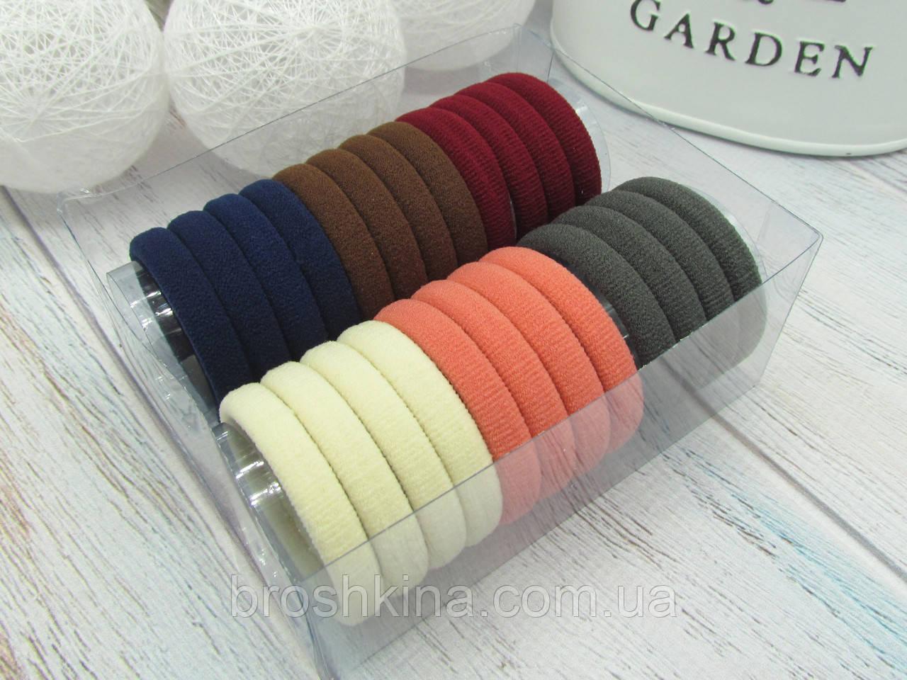 Резиночки для волос микрофибра Ø4 см цветные 24 шт. в коробочке