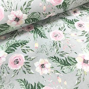 Хлопковая ткань польская розовые цветочки с зелеными листьями на сером