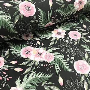 Хлопковая ткань польская розовые цветочки с зелеными листьями на черном