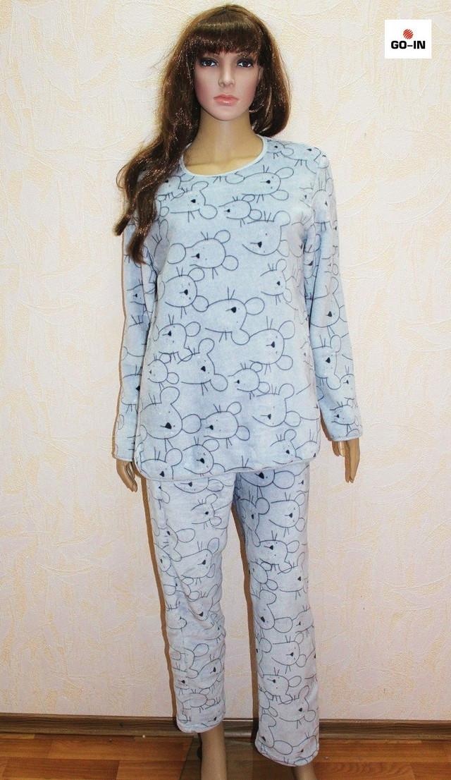 Пижама женская махровая теплая серая мышка 44-54 р.