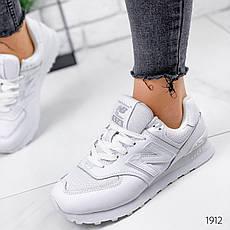 Кроссовки женские белые из натуральной кожи в стиле New Balance. Кросівки жіночі білі, фото 3