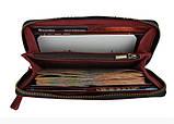 Кошелек женский кожаный клатч большой travel SULLIVAN  марсала, фото 3