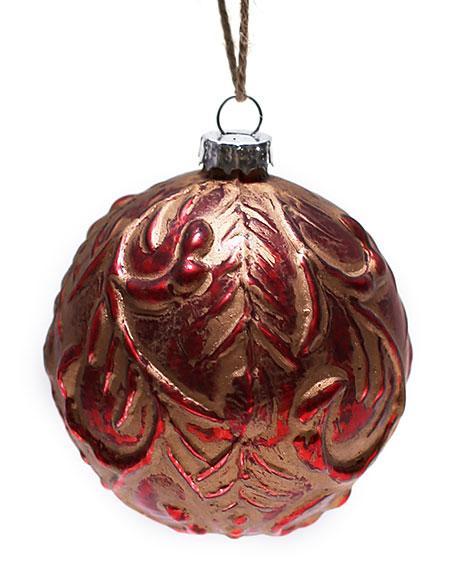 Елочный шар 8см антик красный