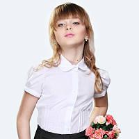 Хлопковая белая блуза с защипами на талии