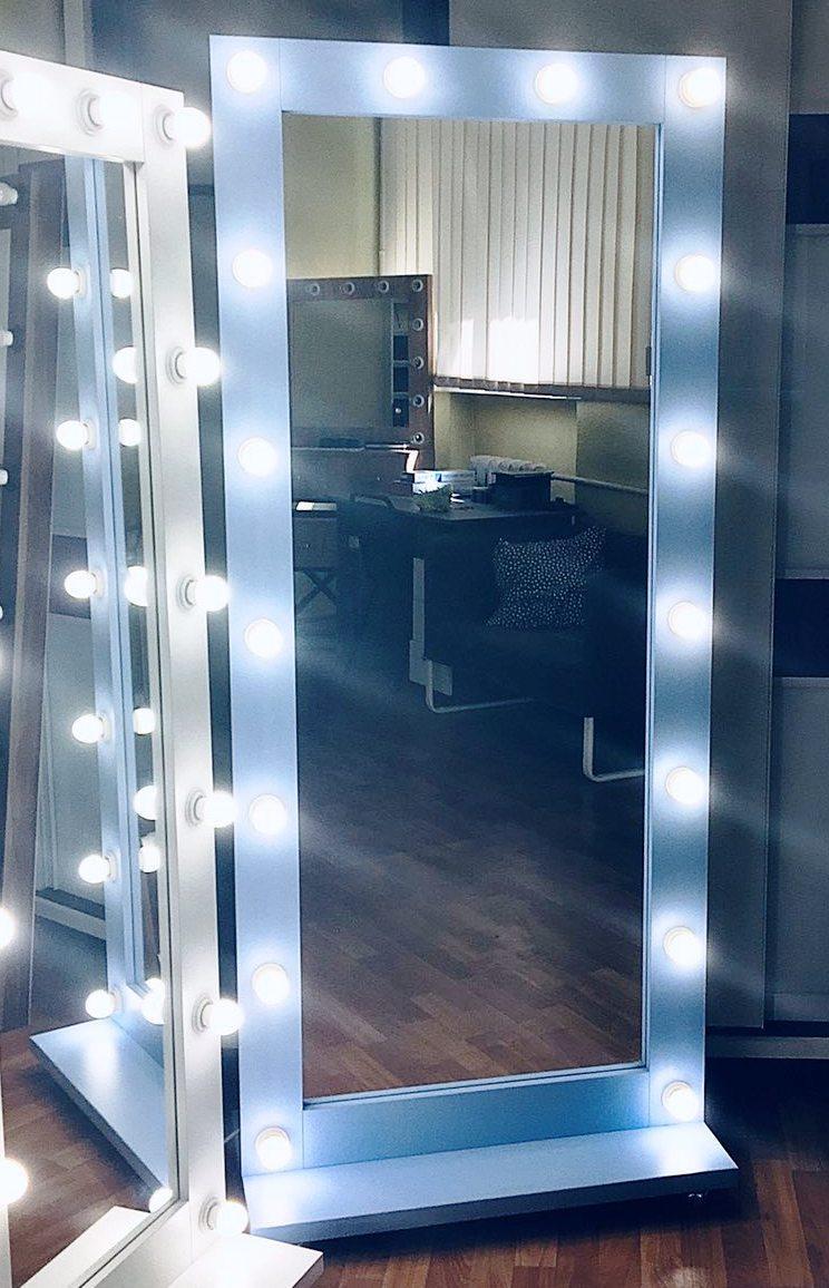 Блакитне гримерное дзеркало, Дзеркало підлогове, Дзеркало з лампочками в повний зріст