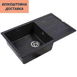 Мойка каменная Ventolux DIAMANTE (SPACE BLACK) 765x485x200 Черная