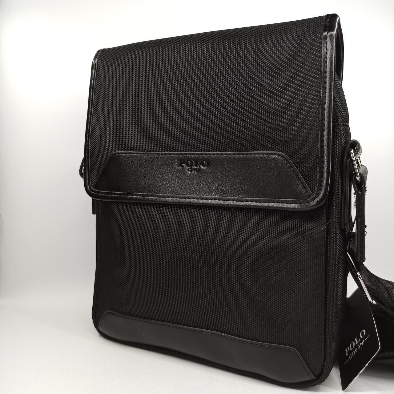 Мужская кожаная сумка планшет через плечо Polo B667-4