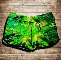 Шорты 3D принт женские-Зеленый лазер