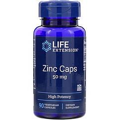 Цинк высокой эффективности, Zinc Caps, High Potency, Life Extension,  50 мг, 90 вегетарианских капсул