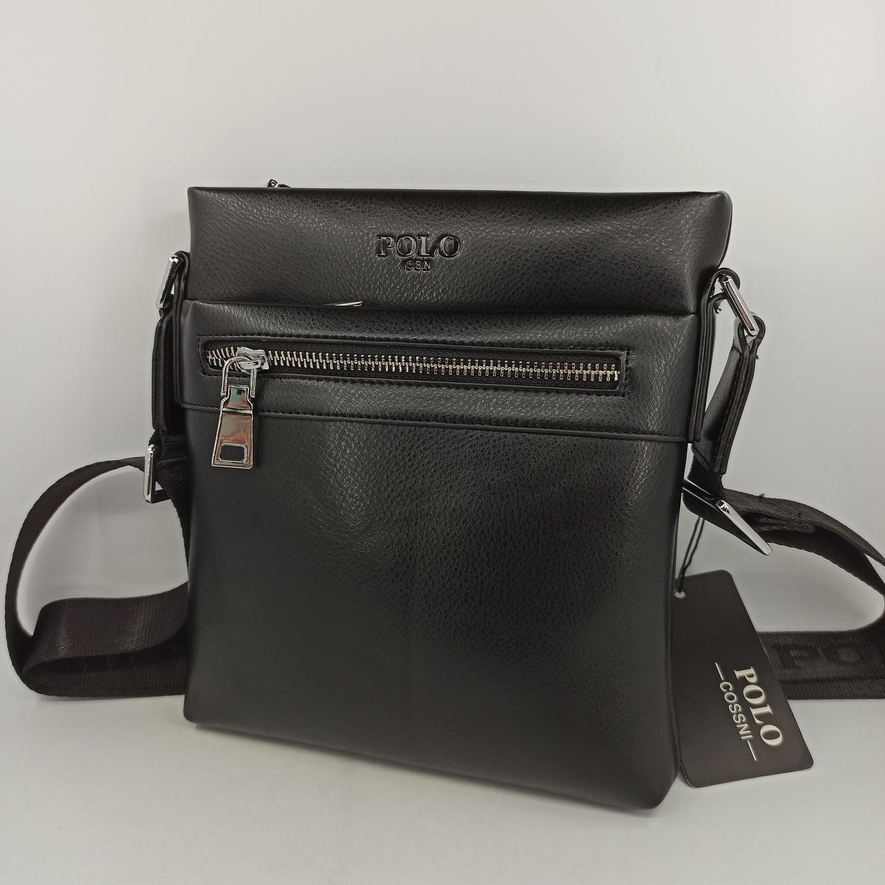 Мужская кожаная сумка планшет через плечо Polo B512-1