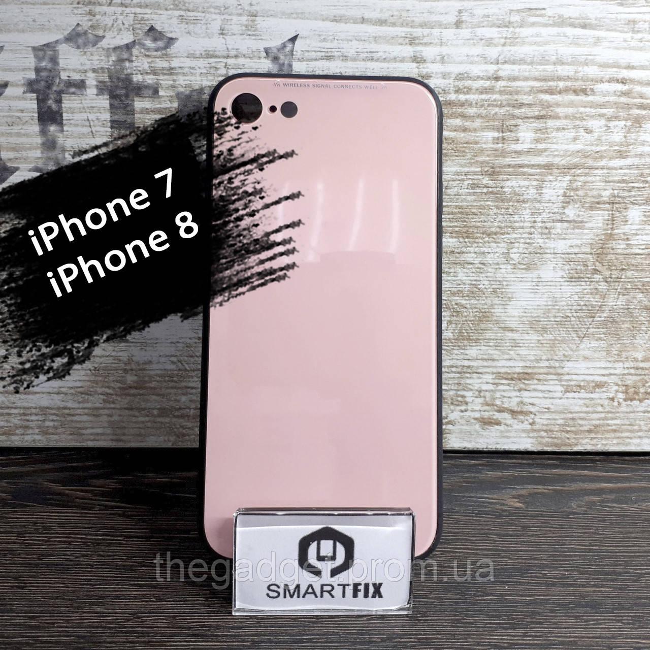 Силиконовый чехол со стеклянной крышкой для iPhone 7 / iPhone 8 iPaky Розово-черный