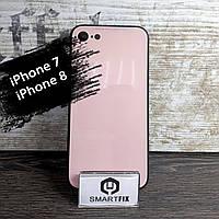 Силиконовый чехол со стеклянной крышкой для iPhone 7 / iPhone 8 iPaky Розово-черный, фото 1