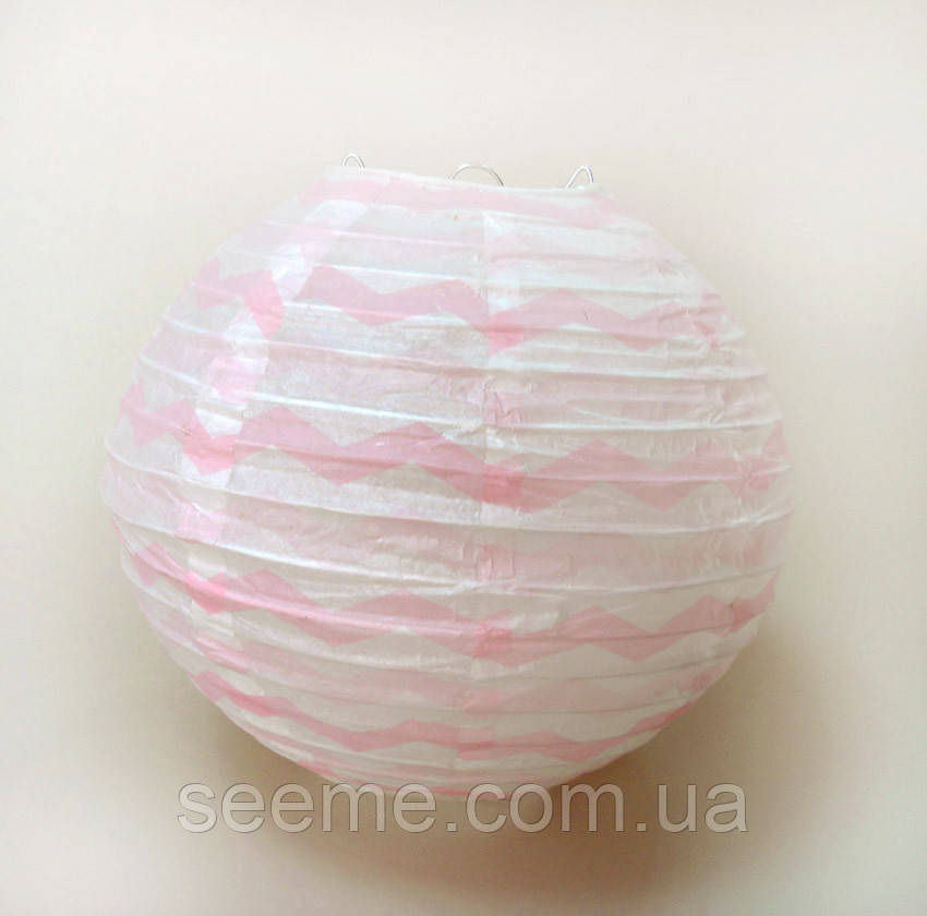 Куля підвісний декоративний «Плісе Класик Шеврон», діаметр 40 см Колір рожевий