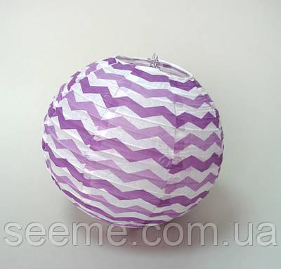 Шар подвесной декоративный «Плиссе Классик Шеврон», диаметр 30 см. Цвет лавандовый