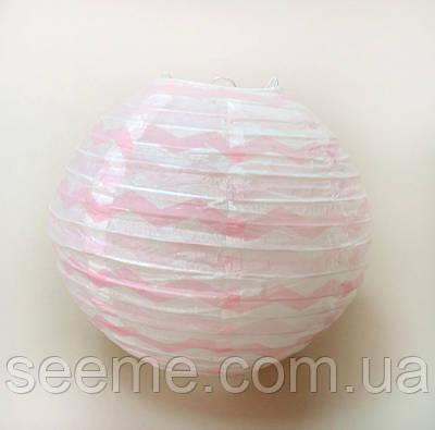 Шар подвесной декоративный «Плиссе Классик Шеврон», диаметр 30 см. Цвет розовый