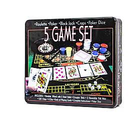 """Покерний набір """"5 ігор"""", Покерный набор """"5 game set"""""""