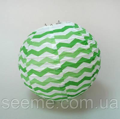 Шар подвесной декоративный «Плиссе Классик Шеврон», диаметр 30 см. Цвет зеленый