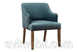 Кресло Туба, велюр бирюзовый, ножки орех