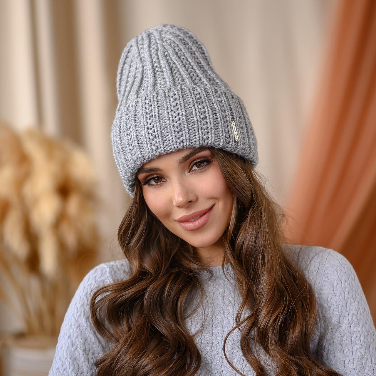 """В'язана шапка """"Летісія"""" колір -сірий"""