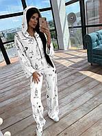 Женский костюм тройка: бомбер с расклешенными рукавами + топ + брюки палаццо Белый, фото 1