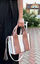 685-XL Натуральная кожа Сумка женская белая кожаная пудровая женская сумка из натуральной кожи А4 формат, фото 3
