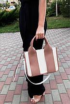 685-XL Натуральная кожа Сумка женская белая кожаная пудровая женская сумка из натуральной кожи А4 формат, фото 2