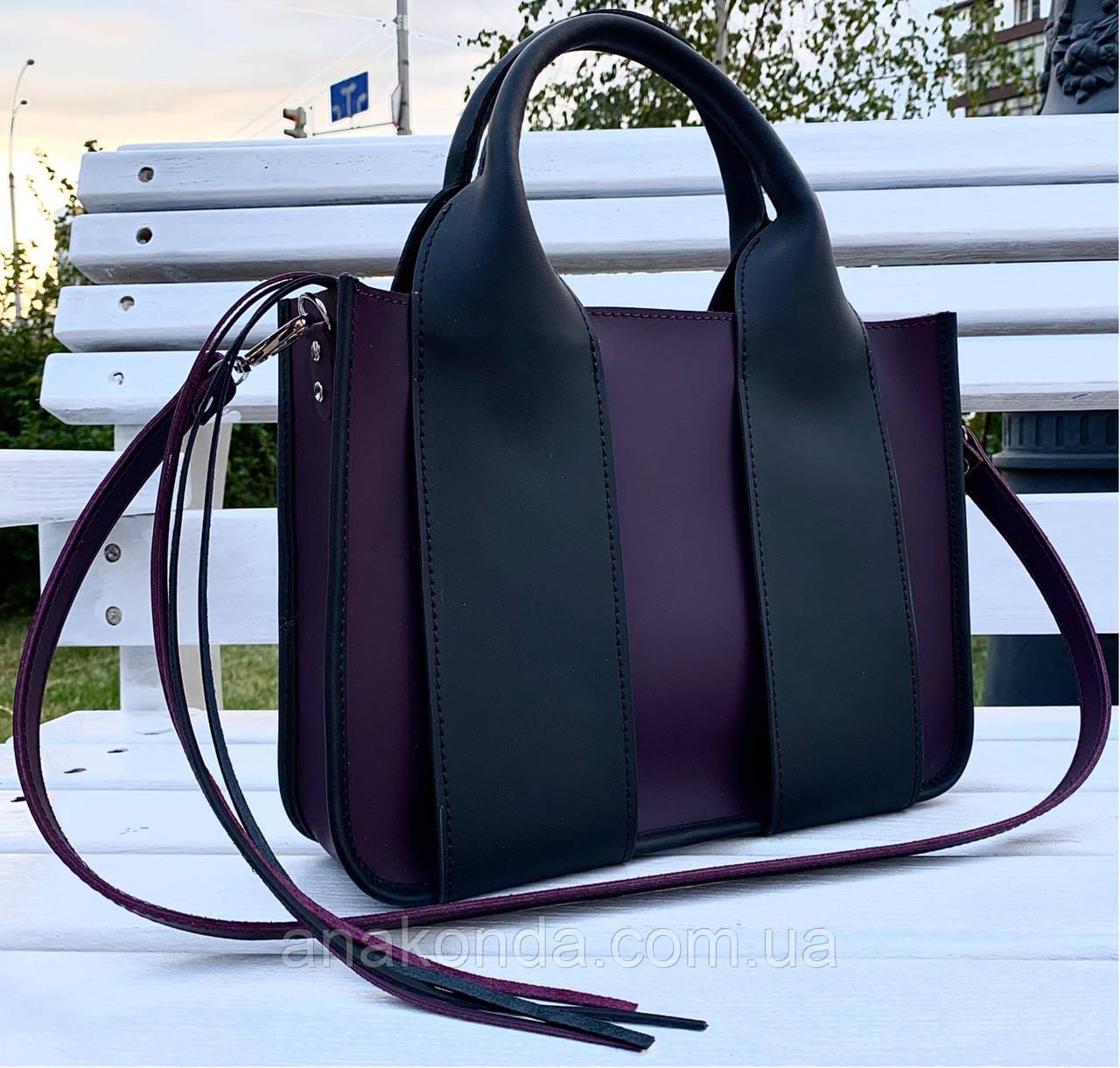 686-XL Натуральная кожа Сумка женская фиолетовая кожаная черная А4 женская сумка из натуральной кожи баклажан