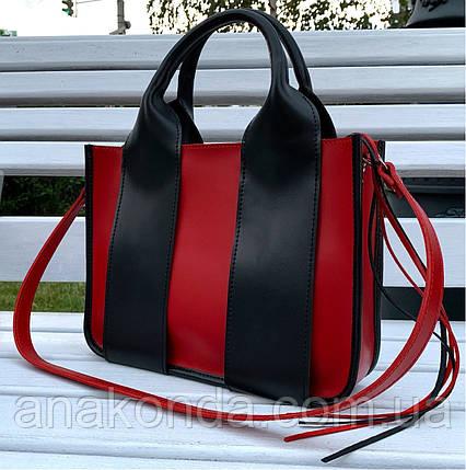 684-1-XL Натуральная кожа Сумка женская красная кожаная черная женская сумка из натуральной кожи А4 формат, фото 2