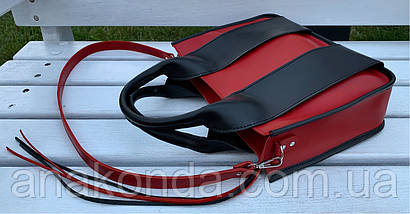 684-1-XL Натуральная кожа Сумка женская красная кожаная черная женская сумка из натуральной кожи А4 формат, фото 3