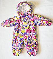 Детский зимний комбинезон для новорожденных на девочку до 1.5 года, цельный, человечек, фото 1