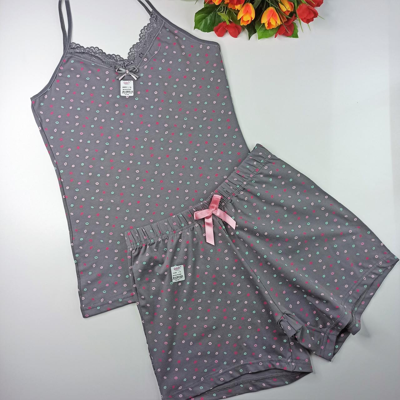 """Пижама  HNX майка и шорты """"Губки"""" хлопок  XL серый (6510)"""