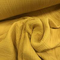 Ткань муслин жатый четырехслойный, ярко-желтый (шир. 2,25м)