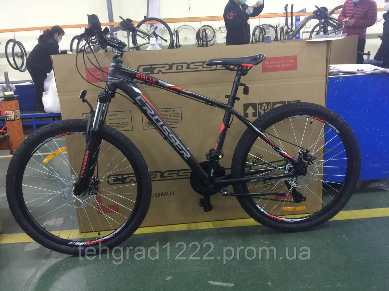 """Гірський велосипед Crosser Raly 29"""" (рама 18) чорно-червоний"""