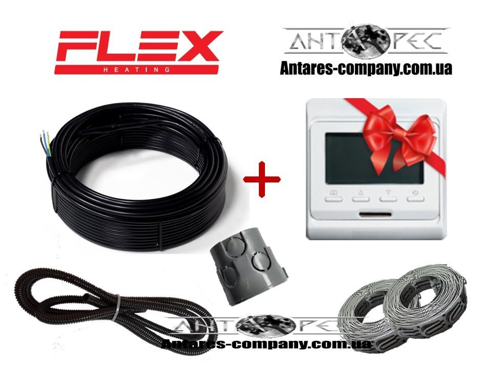 Тонкий кабель для обогрева пола Flex 4м²- 4,8м²/ 700Вт (40м) с терморегулятором E51