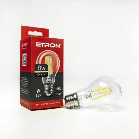 Винтажная LED лампа Эдисона 8W A60 3000K E27 ETRON Filament 1-EFP-109