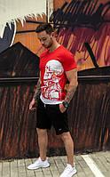 Футболка мужская с принтом череп, цвет красный / есть 4 цвета