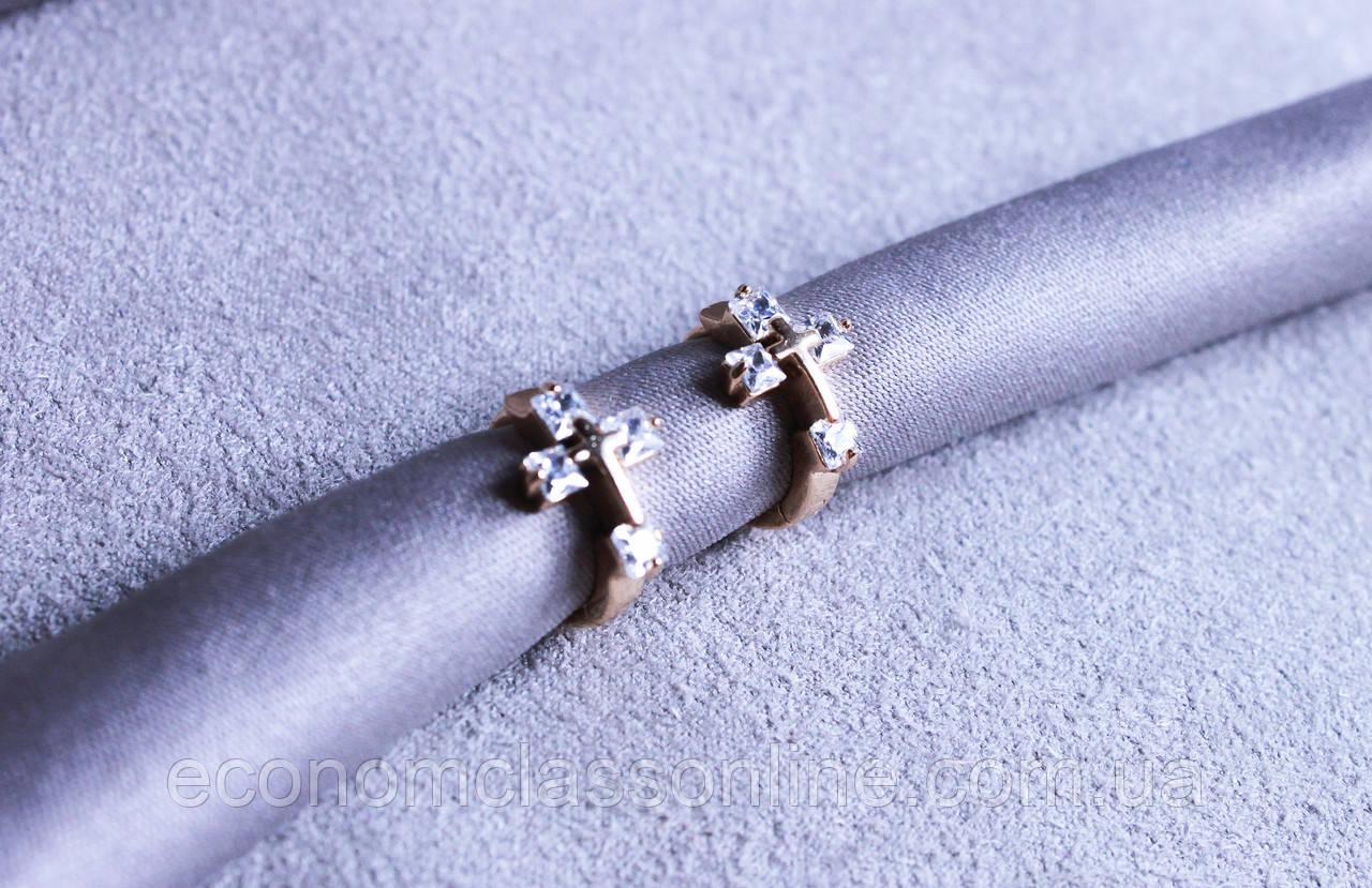 Оригінальні сережки-хрестики фірми Xuping (color 53)
