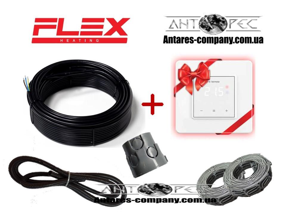 Тонкий кабель для теплого пола Flex 0,5м²- 0,6м²/ 87,5 Вт (5м) в комплекте с Terneo S