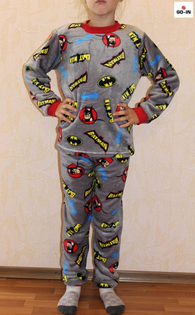 Пижама махровая детская тепла для мальчика бетмен р. 30-38