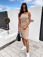 Женское облегающее платье на одно плечо до колен, фото 1