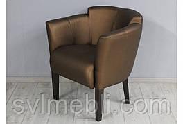 Кресло Мишель экокожа коричневая ножки венге