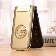 Телефон кнопочный раскладушка золотистый с большим дисплеем на 2 сим карты Tkexun G3 gold