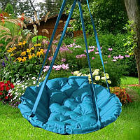 Подвесное кресло гамак для дома и сада 80 х 120 см до 100 кг голубого цвета, Подвесной круглый гамак
