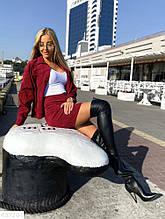 Стильный женский вельветовый костюм юбка и пиджак марсала