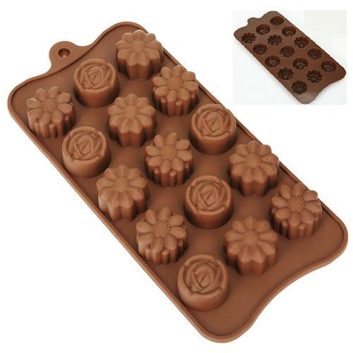 """Форма силикон для конфет """"Цветы"""" 15шт/л 22*10.5*2см"""