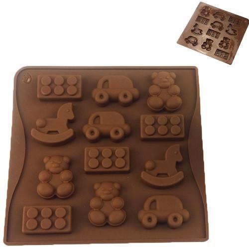 """Форма силикон для конфет """"Игрушки"""" 12шт/л 17.8*17*1см"""