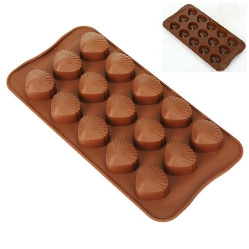 """Форма силіконова для цукерок """"Віяло"""" 15шт/л 20.5*10.4*2см"""
